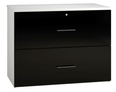 Side Filing Cabinet 2 Drawer Wide - Black (FLAT)