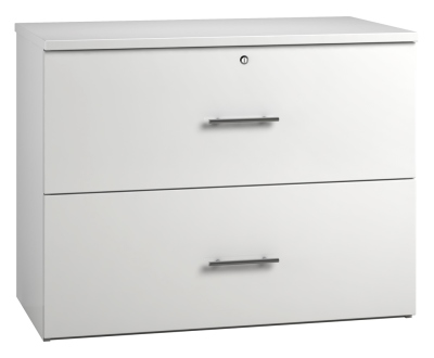 Side Filing Cabinet 2 Drawer Wide - White (FLAT)
