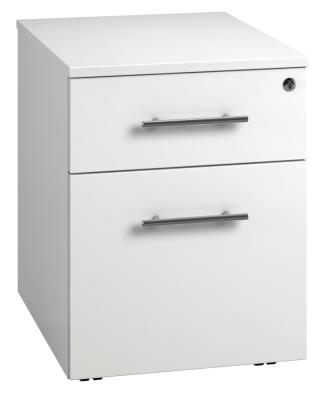 Low Mobile 2 Drawer Unit - White (FLAT)