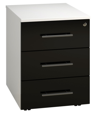Low Mobile 3 Drawer Unit - Black (FLAT)
