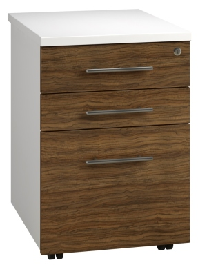 Tall Mobile Pedestal 3 Drawer - Dark Wood (FLAT)