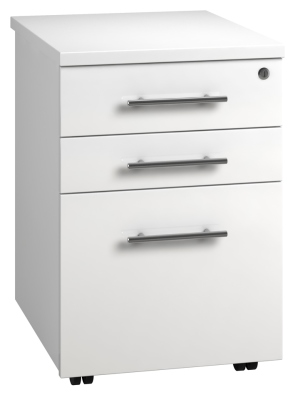 Tall Mobile Pedestal 3 Drawer - White (FLAT)