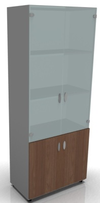 Tall Cupboard W Glass Amber Walnut