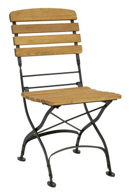 Parade-folding-side-chair,-oiled---black-compressor