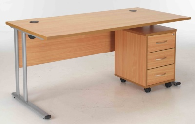 Beech Desk And Drawers Bundle