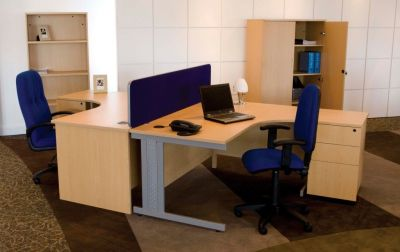Gx Corner Office Desk In Beech With Blue Operator Chairs