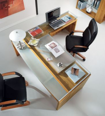 Washington Executive Desk And Return With Glass Desktop And Black Leather Office Chairs