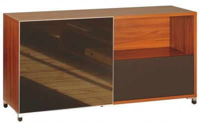 Santos Credenza Unit In Rosewood Effect Finish With Sliding Glass Doors