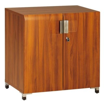 Santos Low Storage Cupboard In A Rosewood Effect Finish With Stylish Silver Handles