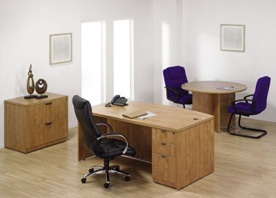 Prime Bow Fronted Office Desk With Three Drawer Pedestal In A Rich Finish