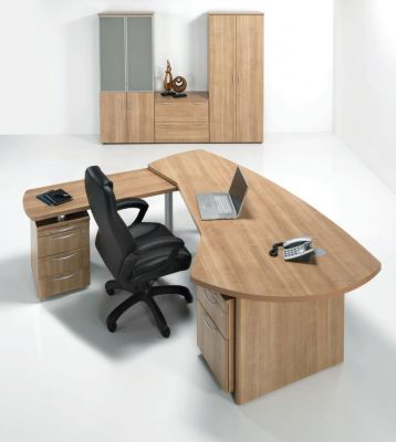E Space Executive Office Furniture In A Cappuccino Finish Complete With Desk Return And Three Drawer Pedestal