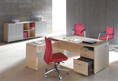 Modern Caba Bow Fronted Executive Desk With Three Desk Pedestal And Desk Return In A Light Oak Finish