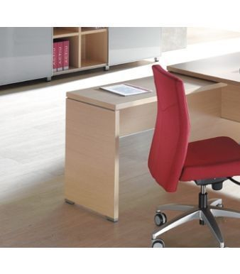 Caba Reversible Fixed Desk Return In A Light Oak Finish With A Red Task Chair