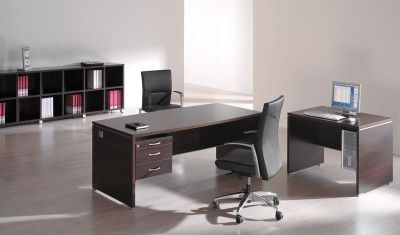 Caba Bow Fronted Executive Desk With Three Drawer Pedestal In A Modern Wenge Finish