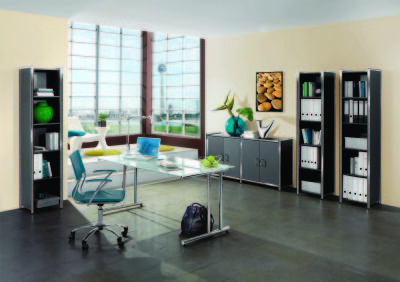 Artoline Office Set Up In Walnut And Glass