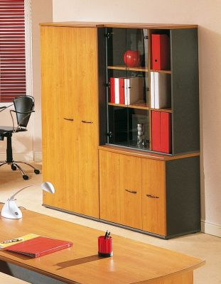 Complete Jazz Office Storage Solution Including Clear Glass Doors And Designer Handles