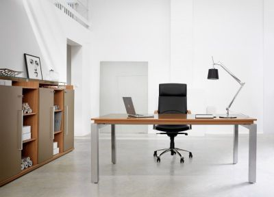 Silver Rectangular Office Desk In A Striking Walnut Finish With Storage And A Black Leather Managers Chair