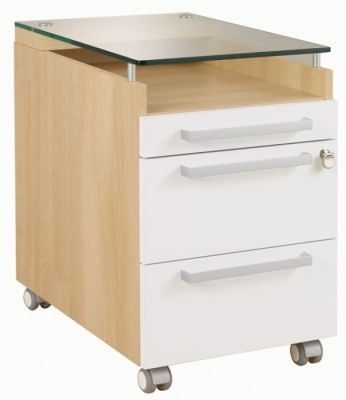 Executive Silver Three Drawer Pedestal In A Grained Oak Finish With White Covers And Tempered 10mm Glass Top
