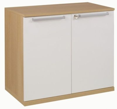 Executive Silver Low Office Storage Cupboard In A Grained Oak Finish With Locakable White Doors