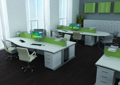 Contempary Avalon Office With Attractive Green Dividers, White Computer Desks