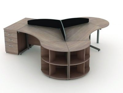 Small Group Of Avalon Furniture With Cantilever Corner Desk, Three Drawer Pedestal In Walnut With Desk Top Screens In Black And File Storage