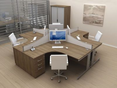 Avalon Corner Computer Desks With Cable Riser, Desk Partition Screens, Three Drawer Pedestal And Swivel Chairs