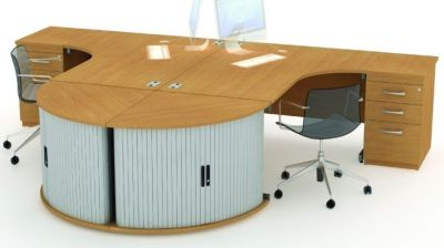 Avalon Corner Desks With Desk End Quadrant For Files And Three Drawer Pedestals In Beech With Desk Chairs