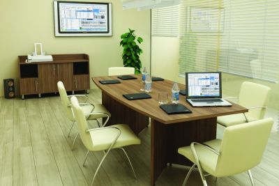 Boardroom Using Avalon Meeting Table In Walnut With Cream Chairs