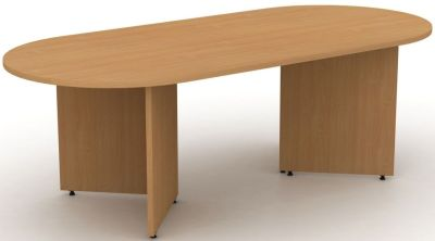 Avalon Double D End Meeting Table With Arrowhead Base In Beech With Adjustable Feet