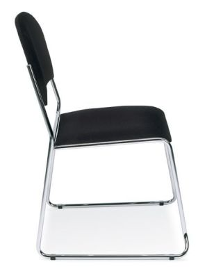 Vesta Skid Base Meeting Chair In Black Upholstery With Chrome Legs And Plastic Floor Protecters