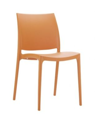 Maya Contemporary Style Orange Chair, Assembled And Ready To Use, High Density, Maintenance Free