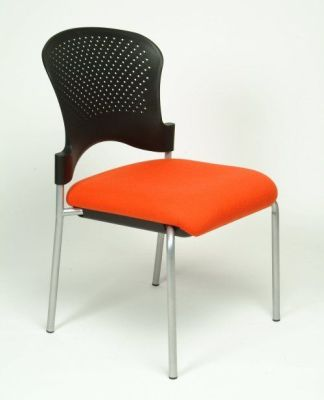 Sonata Stylish Meeting Chair With Silver Legs And Ergonomic Waterfall Front, Stackable For Easy Storage
