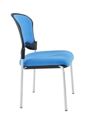 Sonata Upholstered Meeting Chair With Silver Legs In Blue