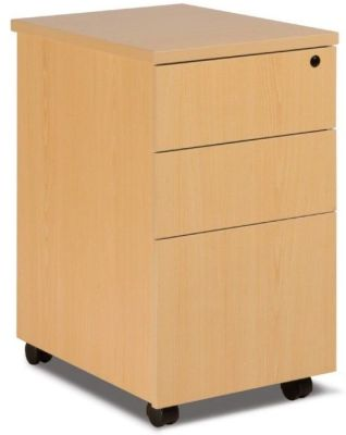 GX Under Desk Pedestal Comprising Two Shallow Drawers And Filing Drawer In Beech With Easy Glide Runners And Mounted On Castors