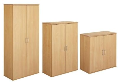 Taurus Wooden Storage Cupboards In Beech With Adjustable Internal Shelves In Three Different Sizes