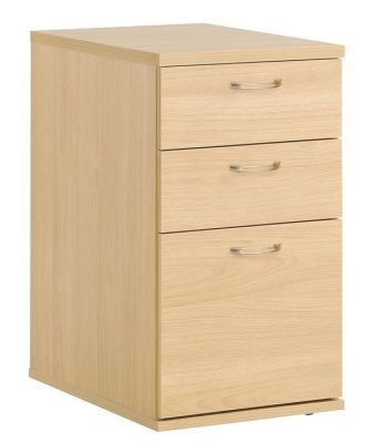 Dynamo Desk Height Pedestal In Beech Sits Beside Dynamo Corner Desk And Extends Working Space, Comprises Two Box Drawers And One Filing Drawer