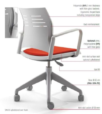 Spacio Designer Computer Operator Chair With Polyamide And Fibre Glass Backrest, Back Reinforcement And Anti Skid Castors In Grey With Red Upholstered Seat