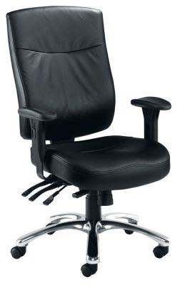 Marathon Upholstered Ergonomic Chair Ideal For Control Rooms In Black Fully Adjustable For Long Term Use