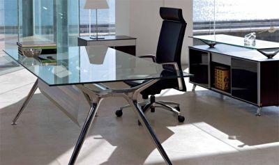 Modern Office Using Designer Arkitek Glass Desk With Silver Frame And Floor Levellers