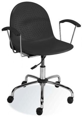Amigo Designer Swivel Chair In Black Polypropylene With Gas Lift Height Adjuster