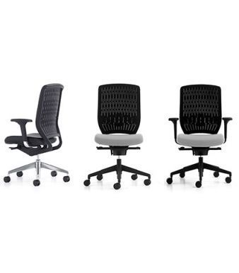 Three Evolve Desk Chairs In Various Colours And Adjustable Seat Depth