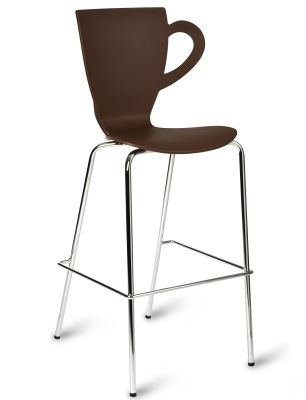 Coffee Shape Poly Brown Seat High Stool With Chrome Frame