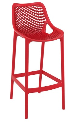 Percy Outdoor Red Plastic High Stool