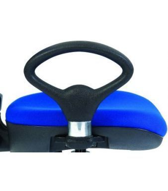 Mode Loop Shaped Fixed Arm Rest On Blue Upholstered Seat