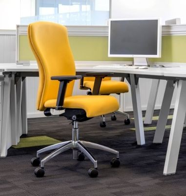 Contemporary Office With Poise Deluxe Desk Chair In Orange