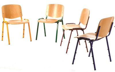 Redstar Chair Stack In Beech With A Chrome Frame