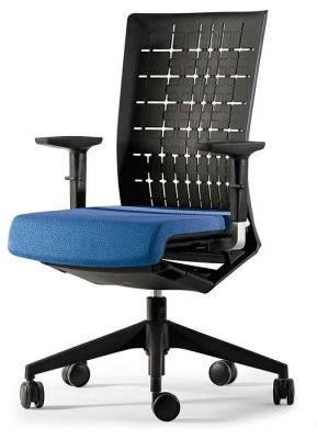 Winner Contemporary Swivel Computer Chair With Blue Upholstered Seat Including Adjustable Knee Tilt