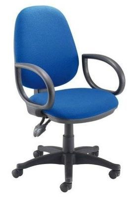 Sonor Blue Fabric Swivel Computer Chair With High Back And Arms