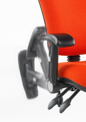 Kinetic Computer Chair In Orange With Height Adjustable Drop Down Arm