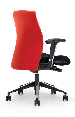 Flame Office Seating With Large Red Shaped Back, Black Seat And Arms